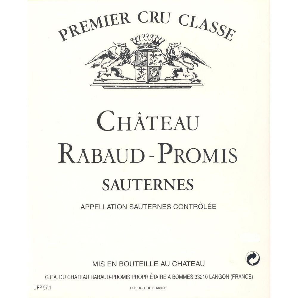 Chateau Rabaud Promis Sauternes (375ML half-bottle) 1988 Front Label