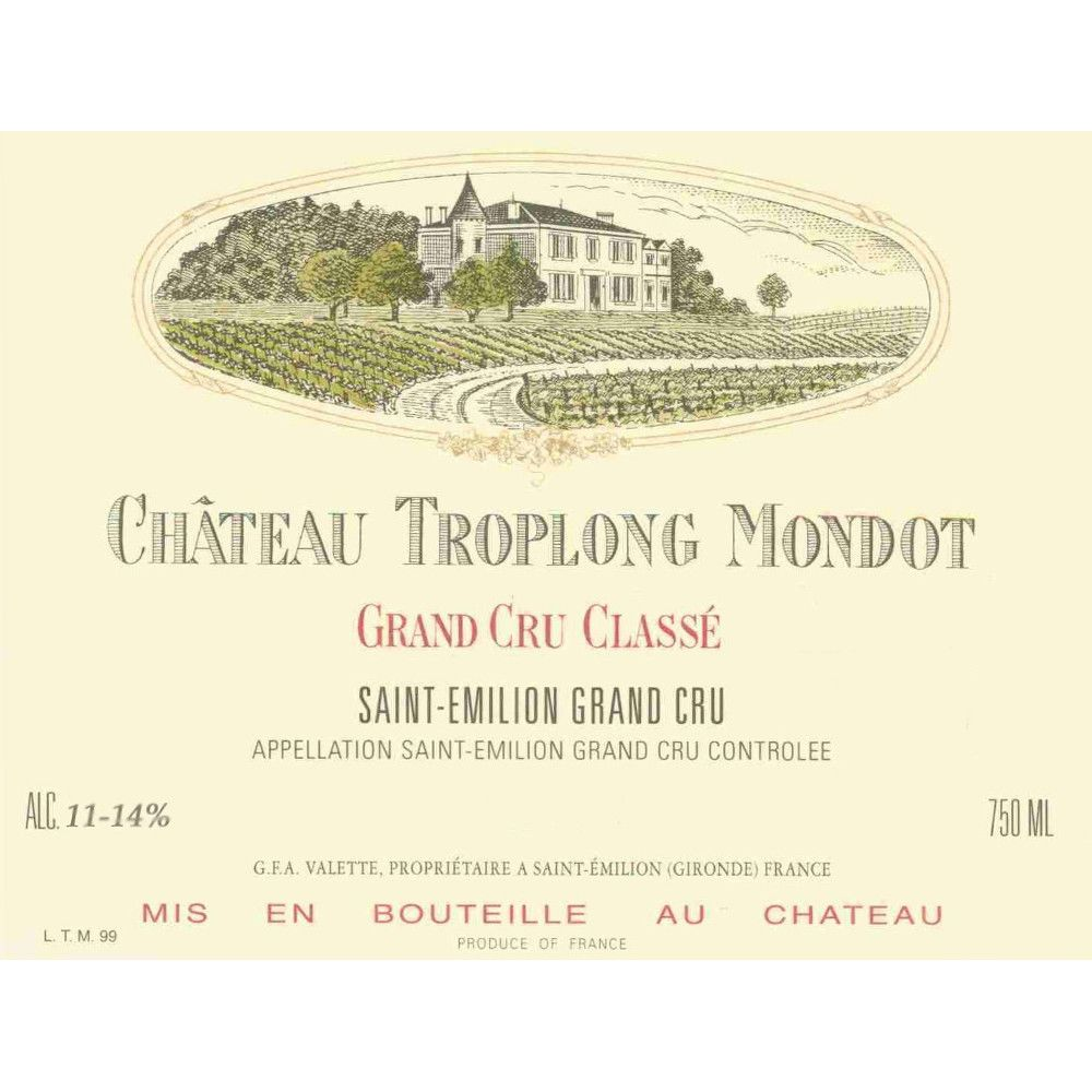 Chateau Troplong Mondot (scuffed label) 1994 Front Label