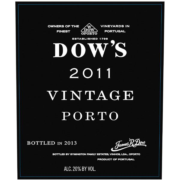 Dow's Vintage Port (375ML half-bottle) 2011 Front Label