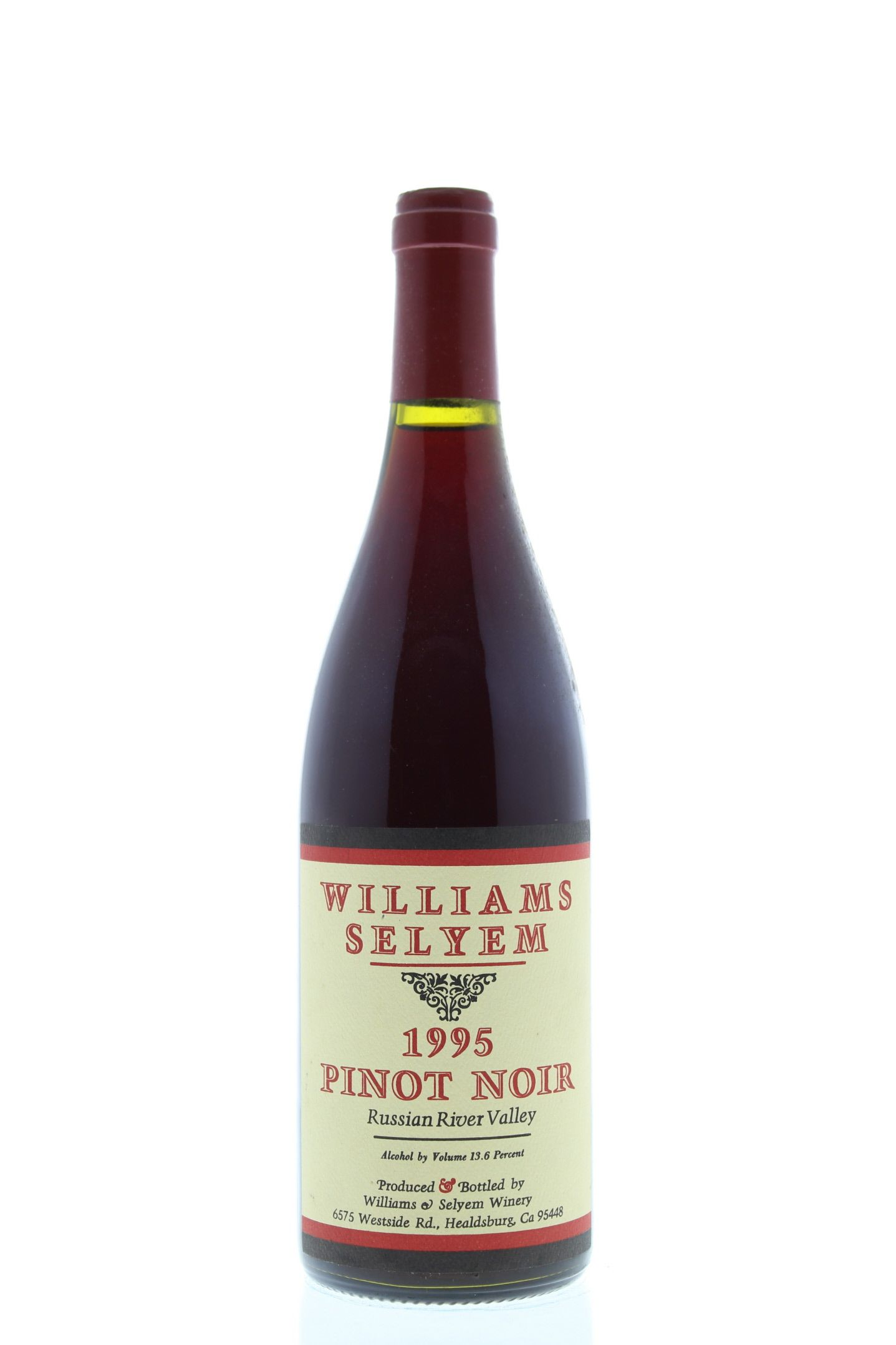Williams Selyem Russian River Valley Pinot Noir 1995 Front Bottle Shot