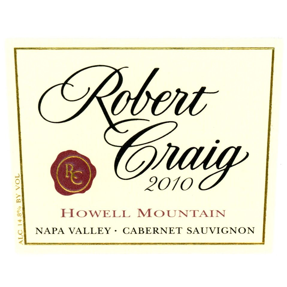 Robert Craig Cellars Howell Mountain Cabernet Sauvignon 2010 Front Label