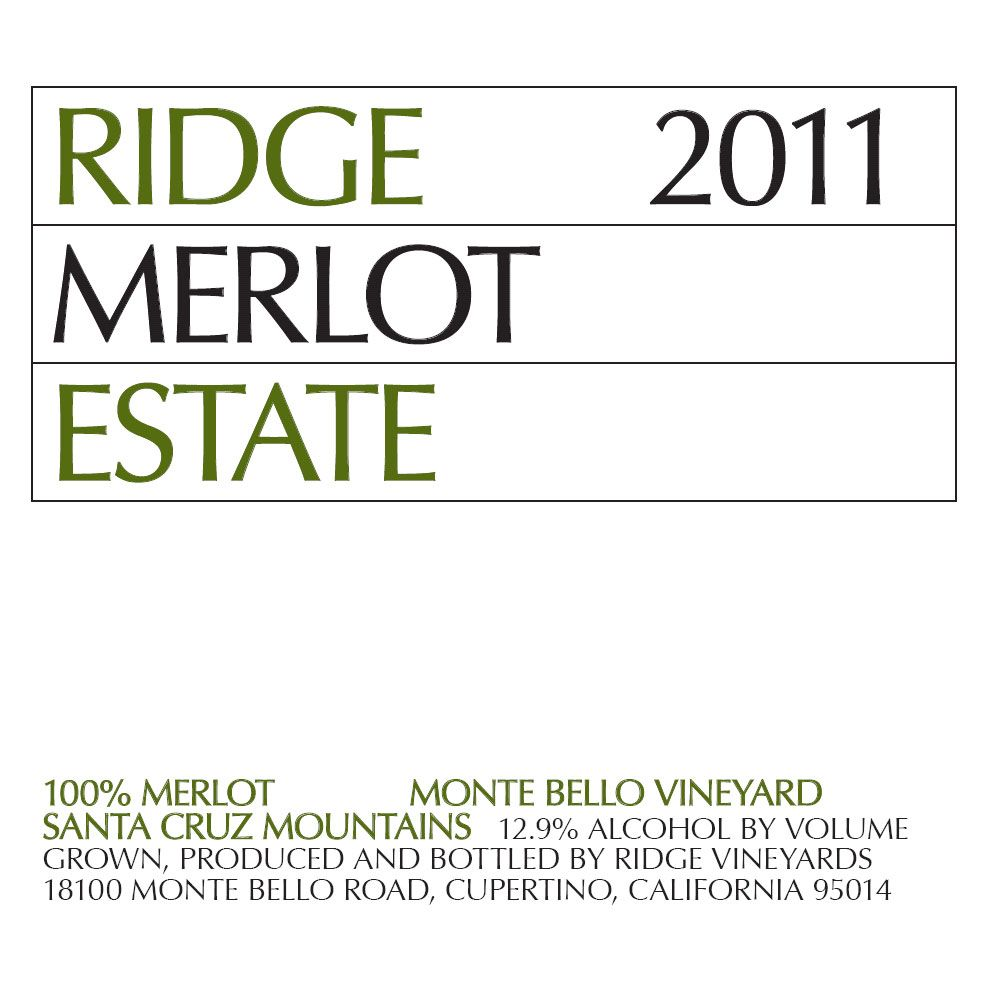 Ridge Estate Merlot 2011 Front Label