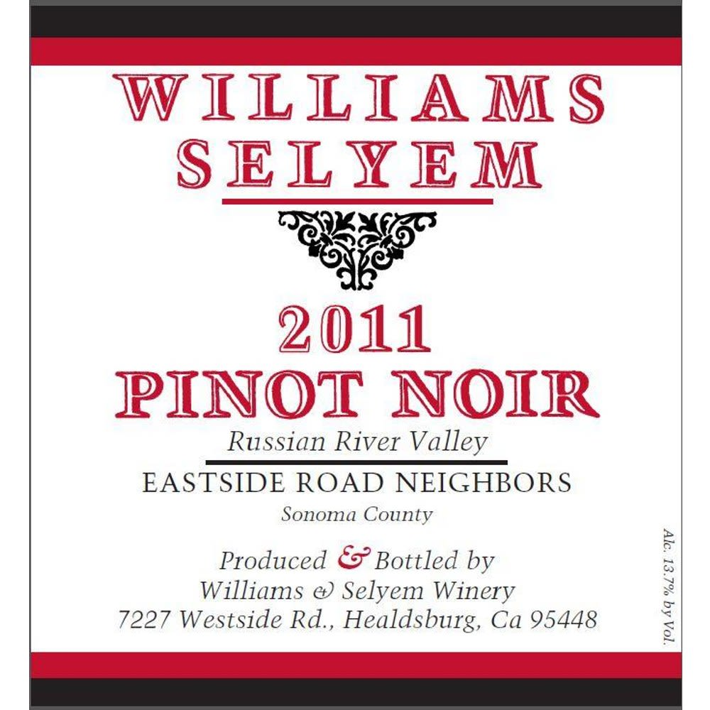 Williams Selyem Eastside Road Neighbors Pinot Noir 2011 Front Label