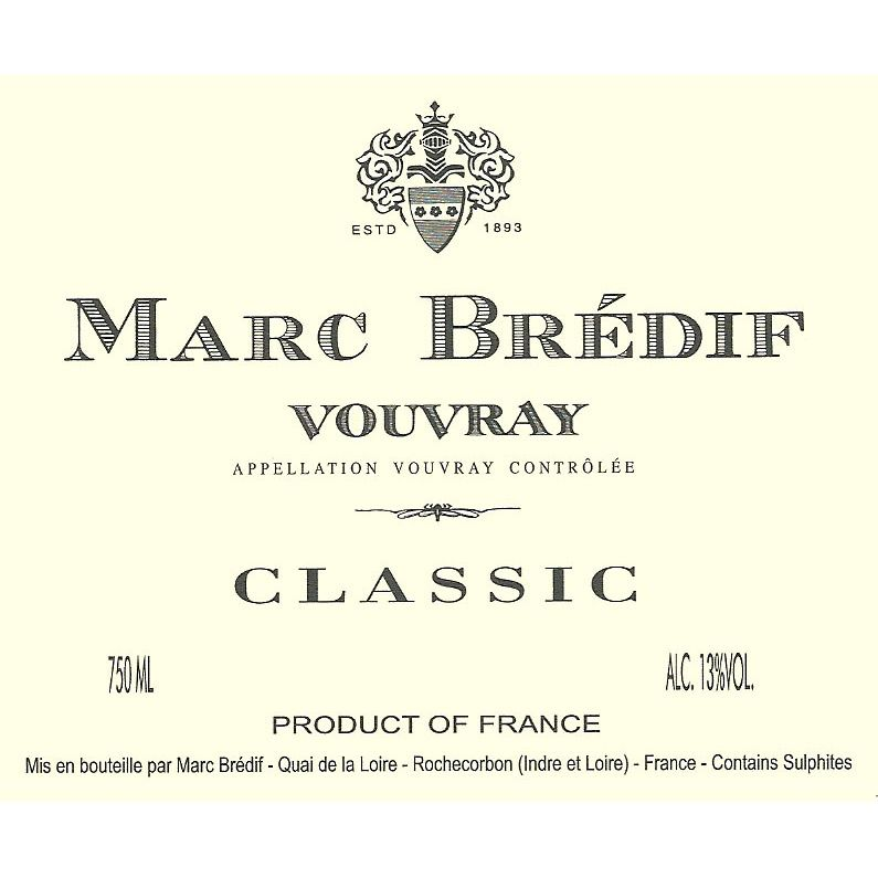 Marc Bredif Vouvray 2012 Front Label