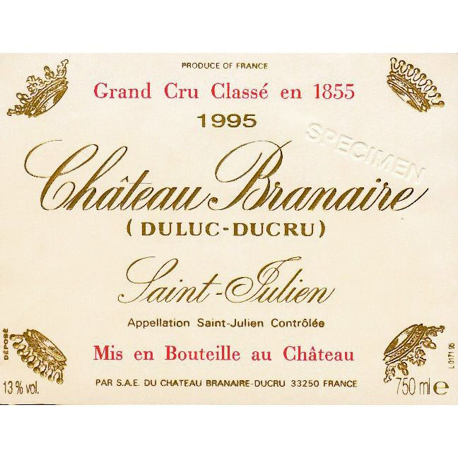 Chateau Branaire-Ducru  1995 Front Label