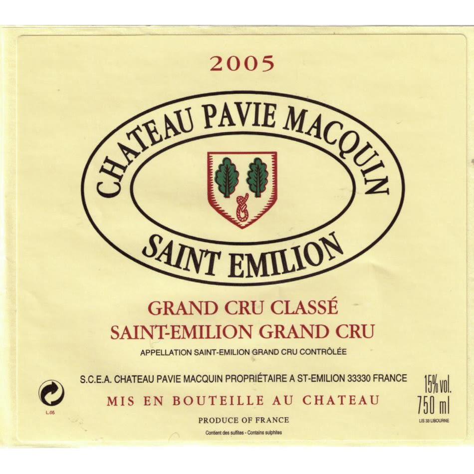 Chateau Pavie Macquin  2005 Front Label
