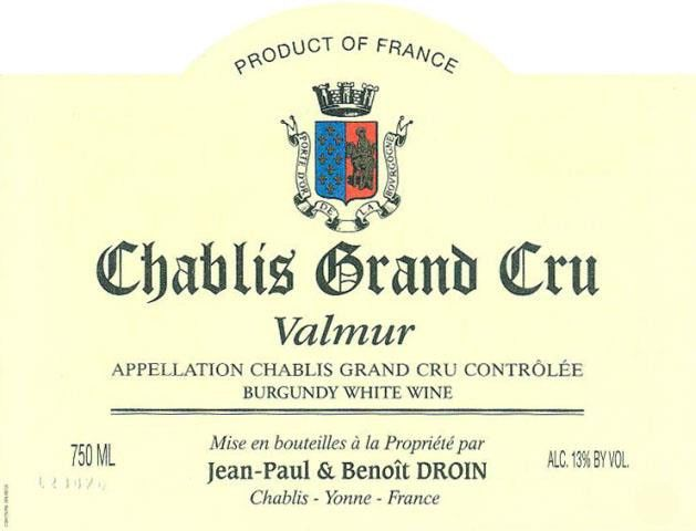 Jean-Paul Droin Valmur Chablis Grand Cru 1992 Front Label