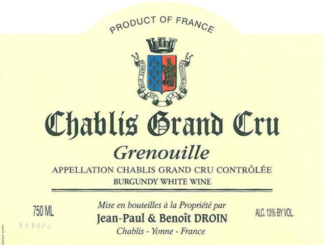 Jean-Paul Droin Chablis Grenouille Grand Cru 1992 Front Label