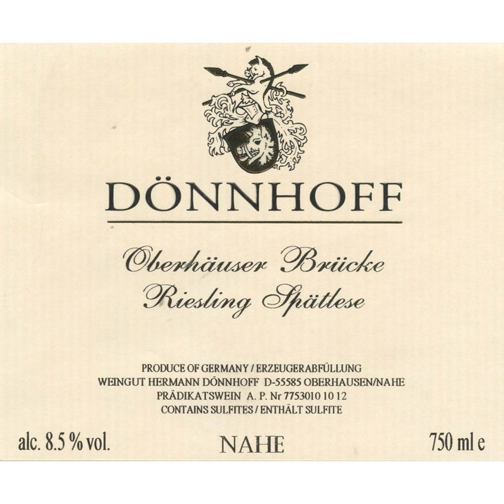 Donnhoff Oberhauser Bruke Riesling Spatlese 2002 Front Label