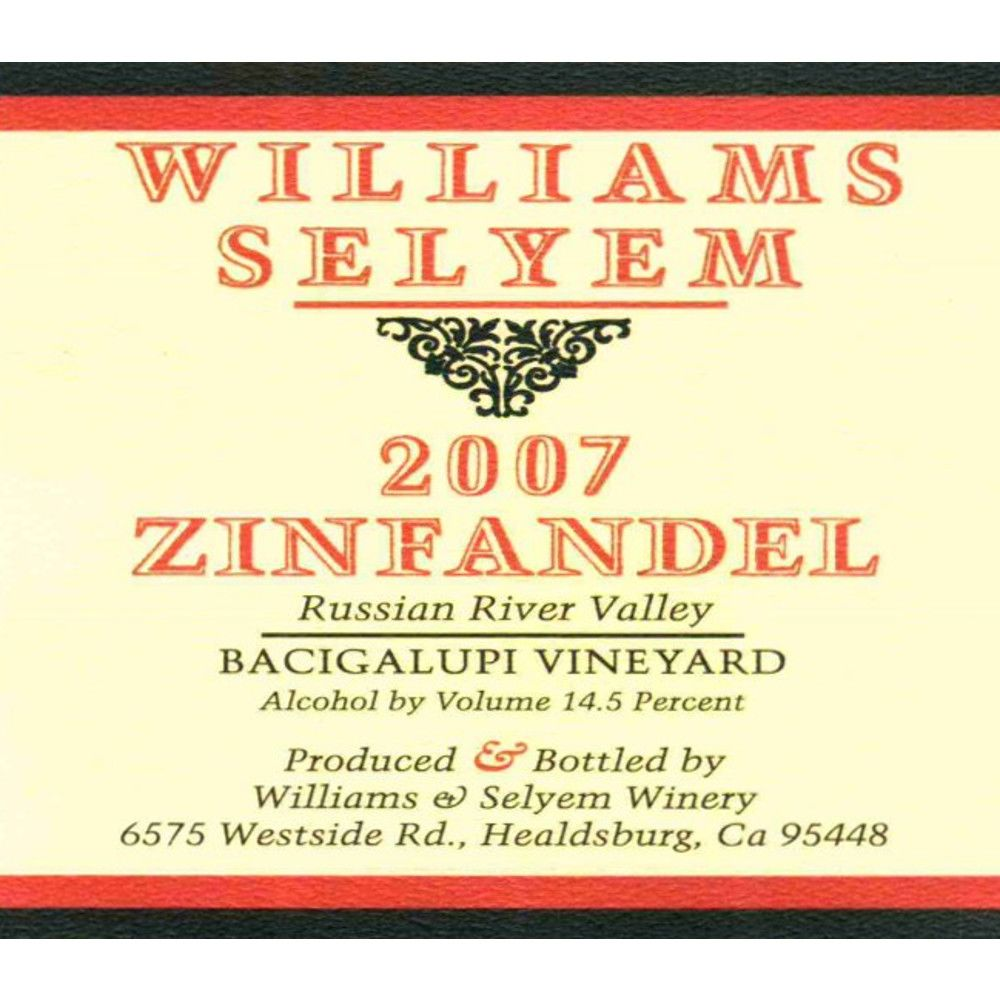 Williams Selyem Bacigalupi Vineyard Zinfandel 2007 Front Label