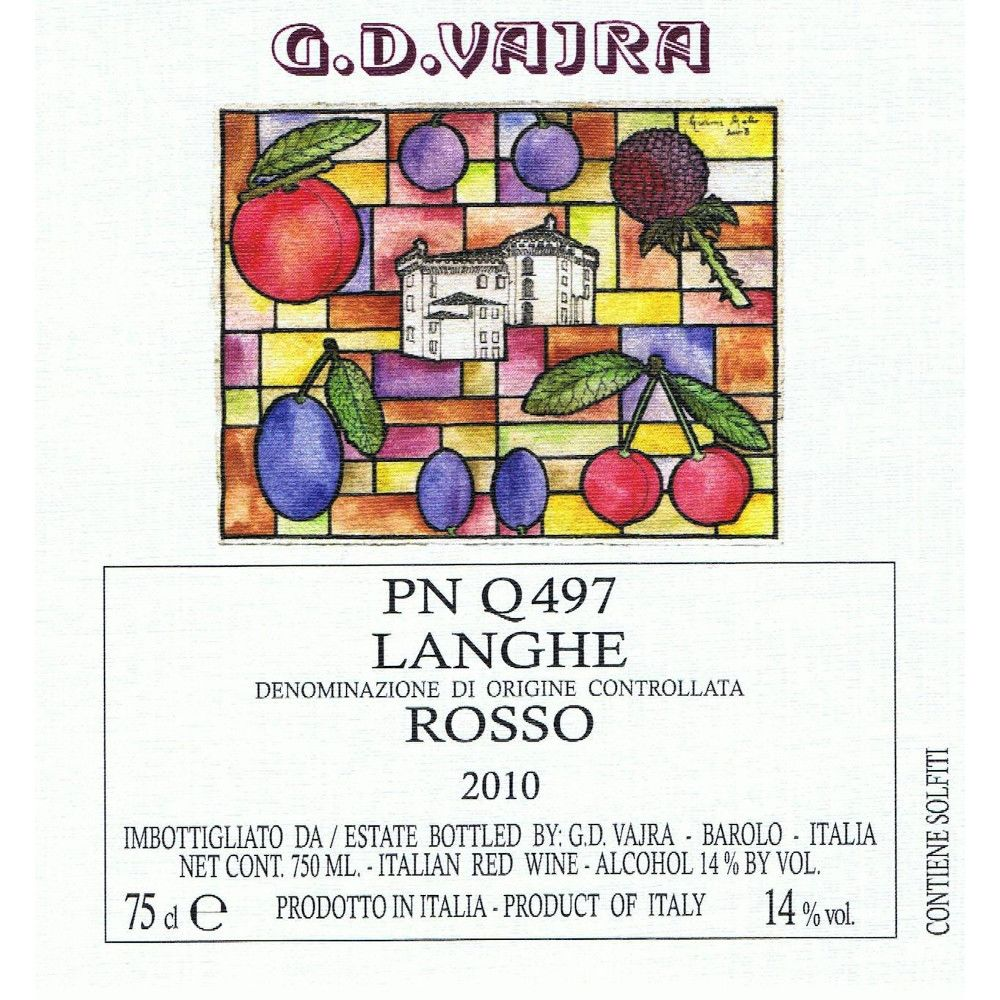 G.D. Vajra Rosso Pinot Nero Q497 2010 Front Label