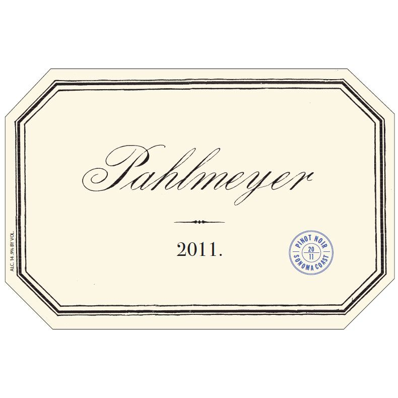 Pahlmeyer Sonoma Coast Pinot Noir 2011 Front Label