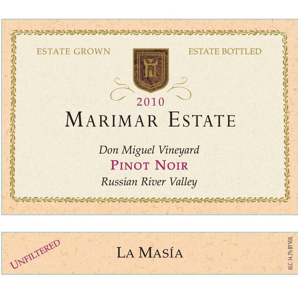 Marimar Estate Don Miguel Vineyard La Masia Pinot Noir 2010 Front Label