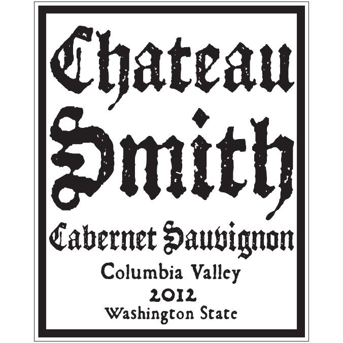Charles Smith Wines Chateau Smith Cabernet Sauvignon 2012 Front Label
