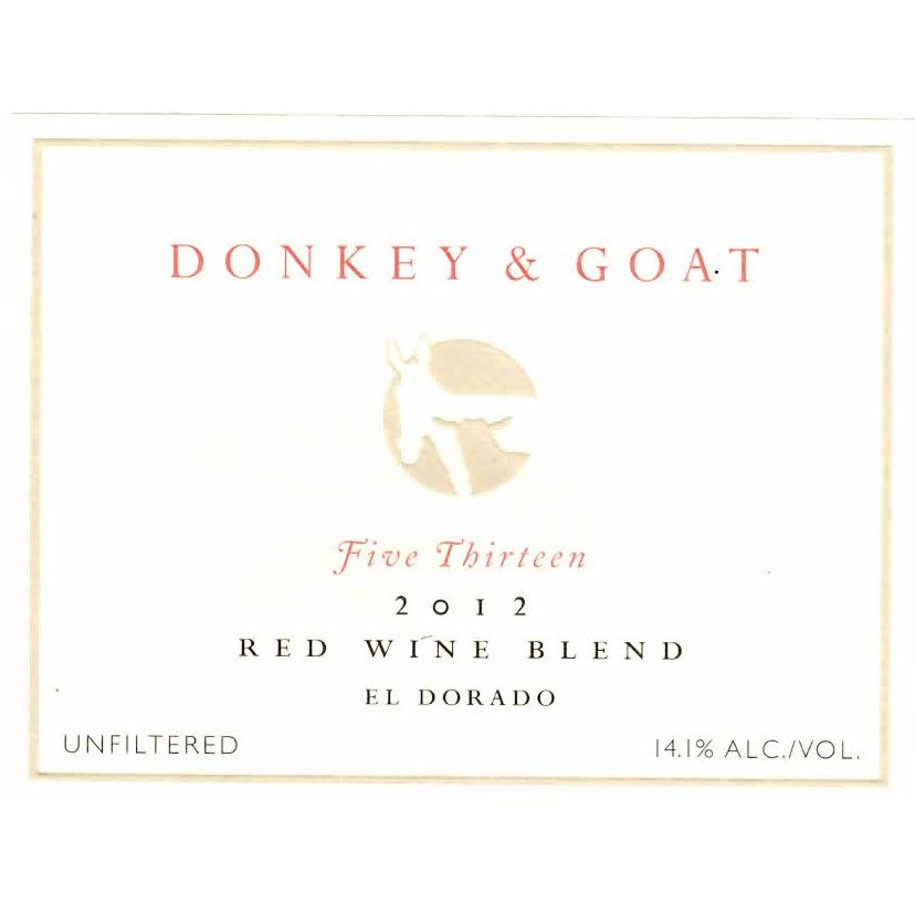 Donkey & Goat  Five Thirteen 2012 Front Label