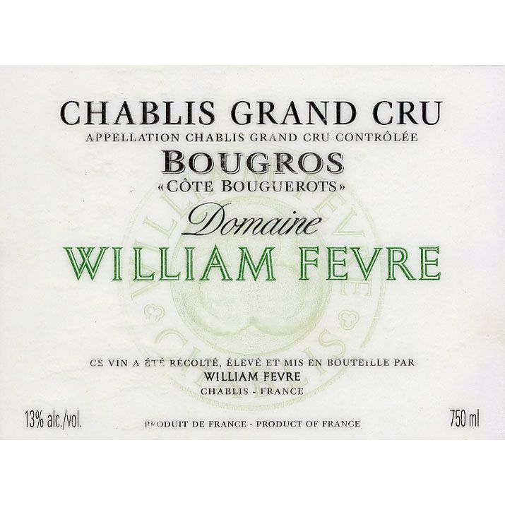 William Fevre Chablis Bougros Cote Bouguerots Grand Cru 2009 Front Label