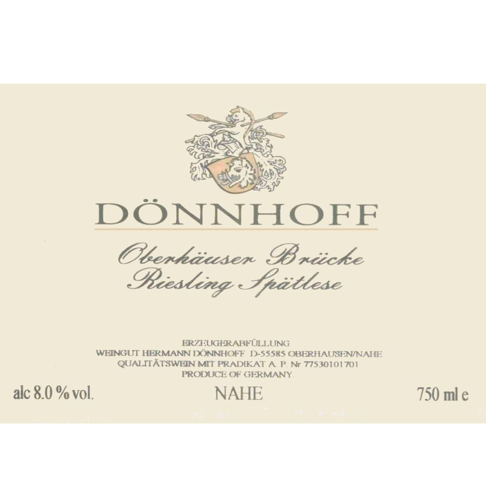 Donnhoff Oberhauser Bruke Riesling Spatlese 2007 Front Label