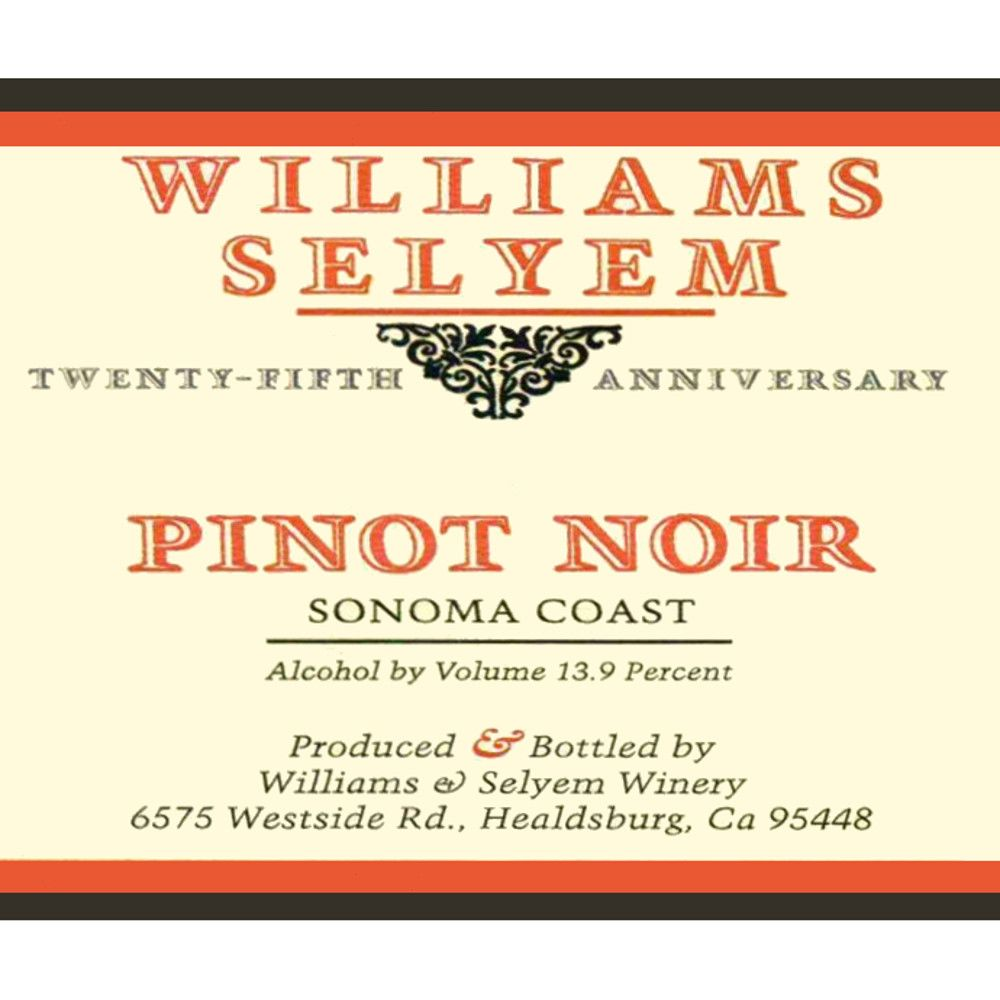 Williams Selyem Sonoma Coast Pinot Noir 2012 Front Label