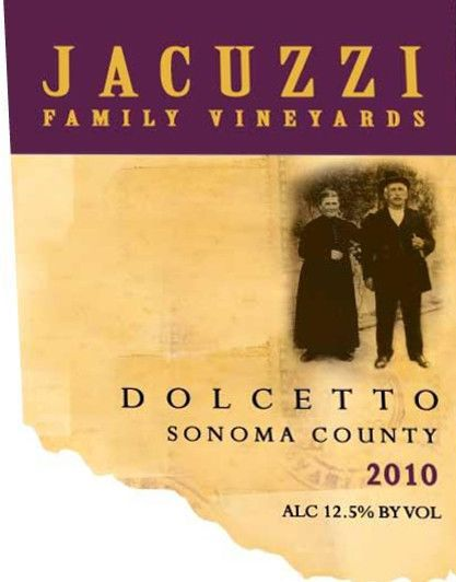 Jacuzzi Dolcetto 2010 Front Label