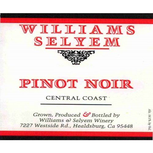 Williams Selyem Central Coast Pinot Noir 2012 Front Label