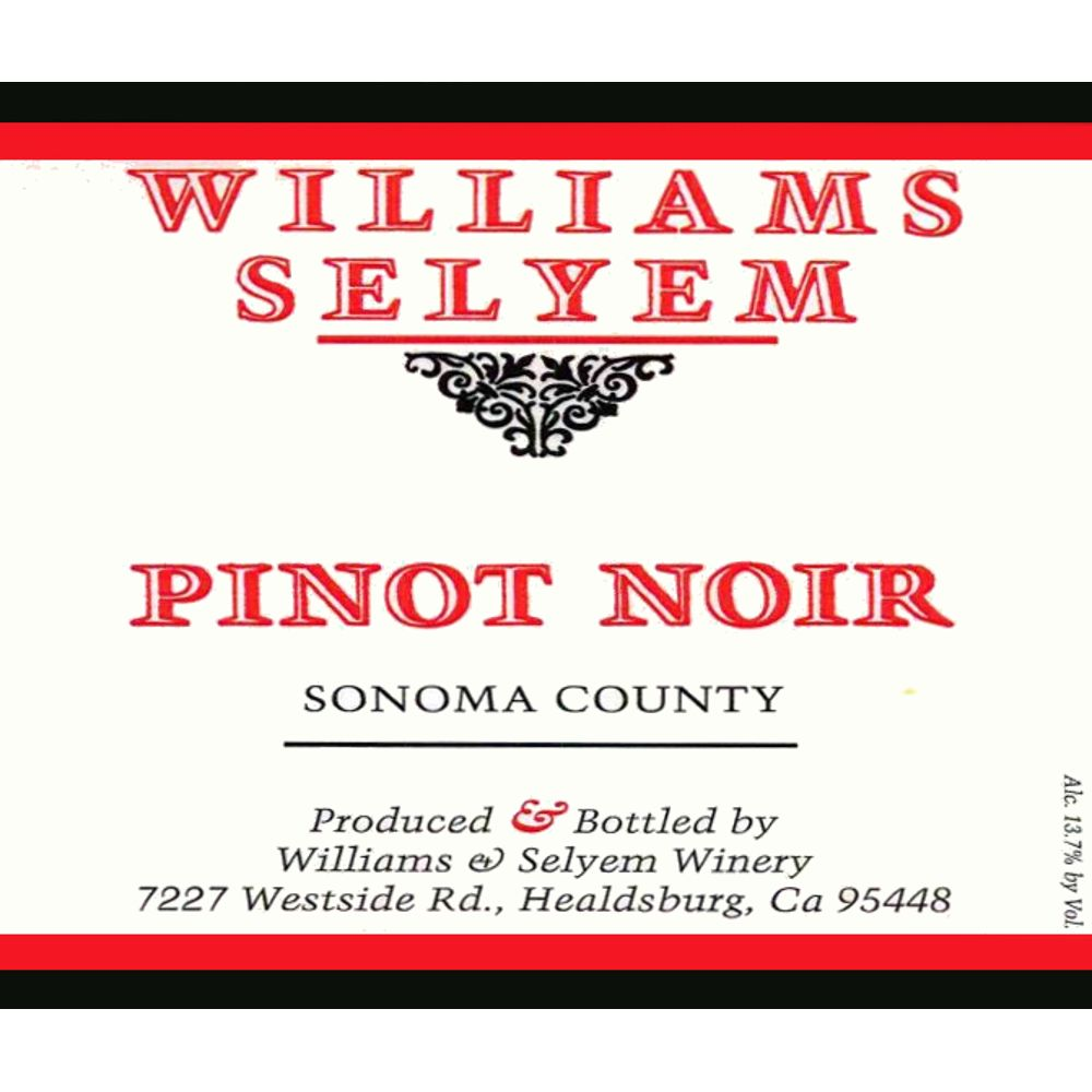 Williams Selyem Sonoma County Pinot Noir 2012 Front Label