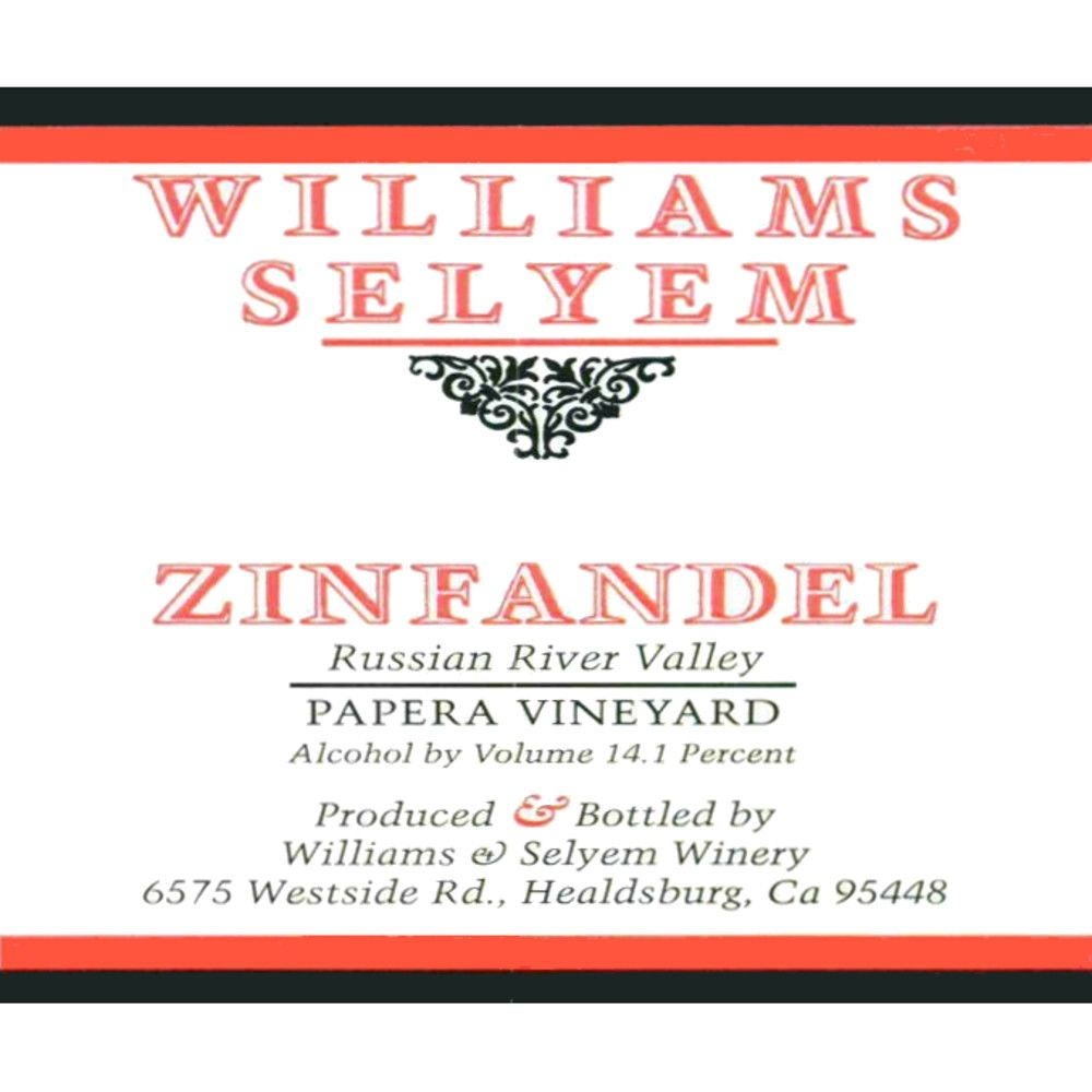 Williams Selyem Papera Vineyard Zinfandel 2012 Front Label