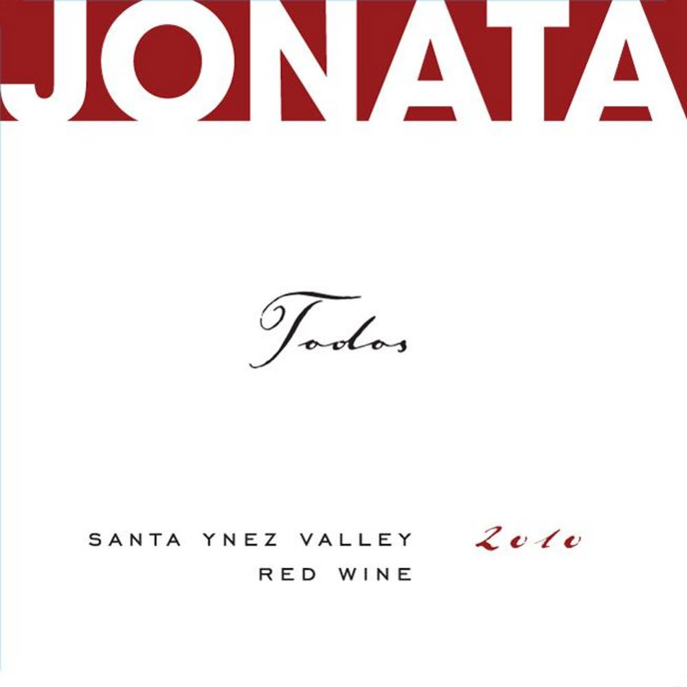 Jonata Todos Proprietary Red Wine (scuffed labels) 2010 Front Label