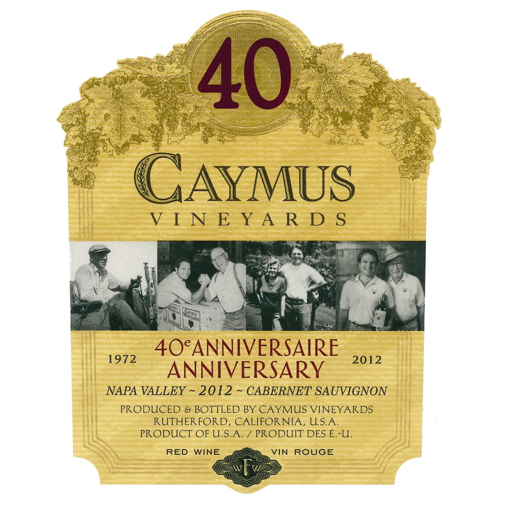 Caymus Napa Valley Cabernet Sauvignon (1 Liter Bottle) 2012 Front Label