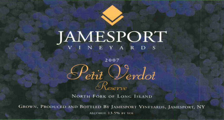 Jamesport Vineyards  Reserve Petit Verdot 2007 Front Label