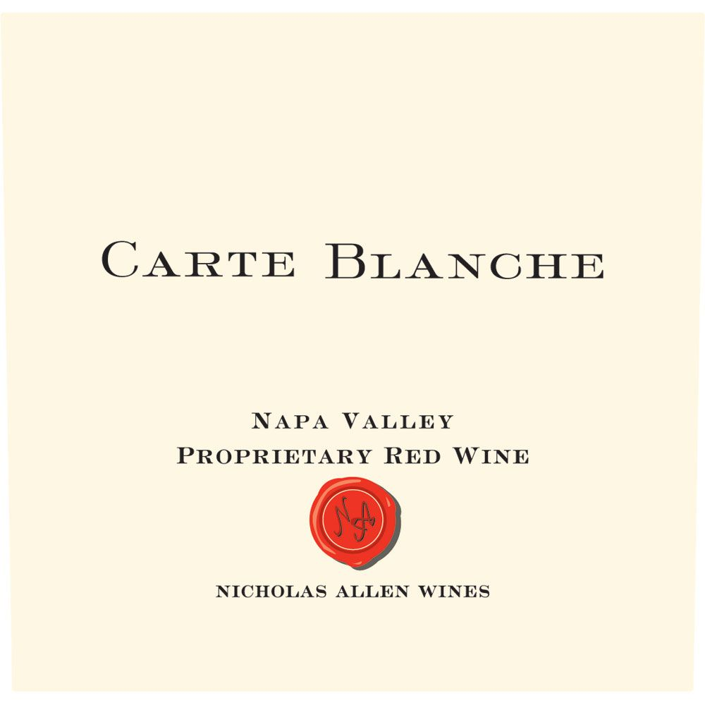 Nicholas Allen Wines Carte Blanche Proprietary Red 2010 Front Label