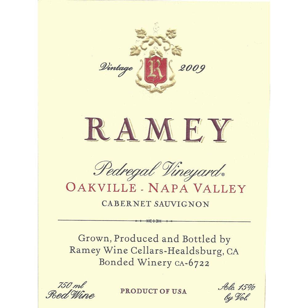 Ramey Pedregal Vineyard Cabernet Sauvignon 2009 Front Label