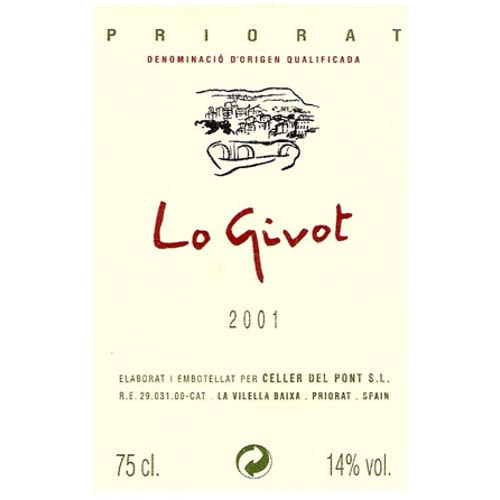 Celler del Pont Lo Givot 2001 Front Label