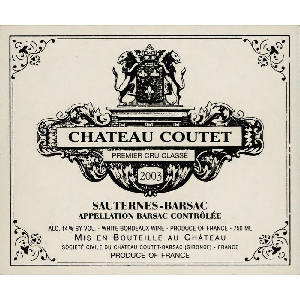 Chateau Coutet  2003 Front Label
