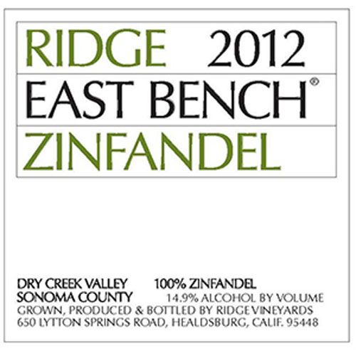 Ridge East Bench Zinfandel 2012 Front Label