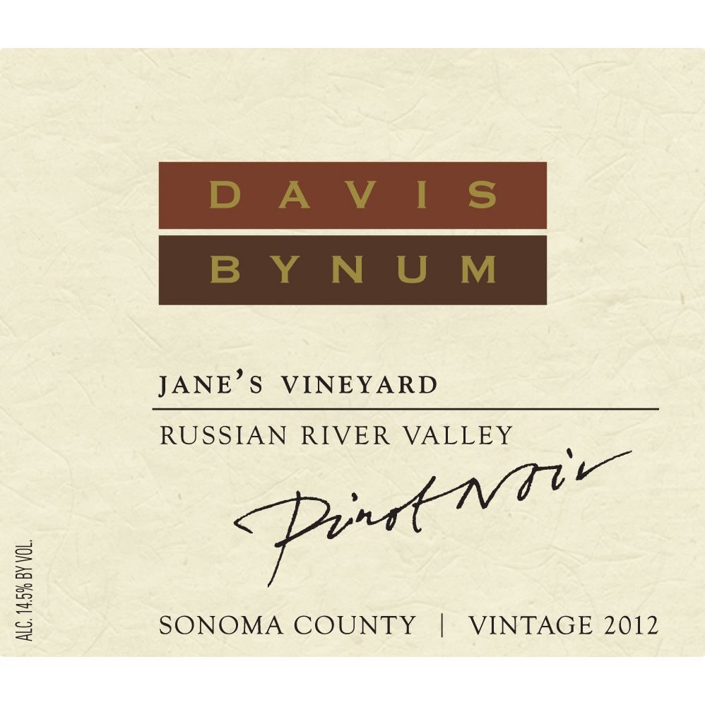 Davis Bynum Jane's Vineyard Pinot Noir 2012 Front Label