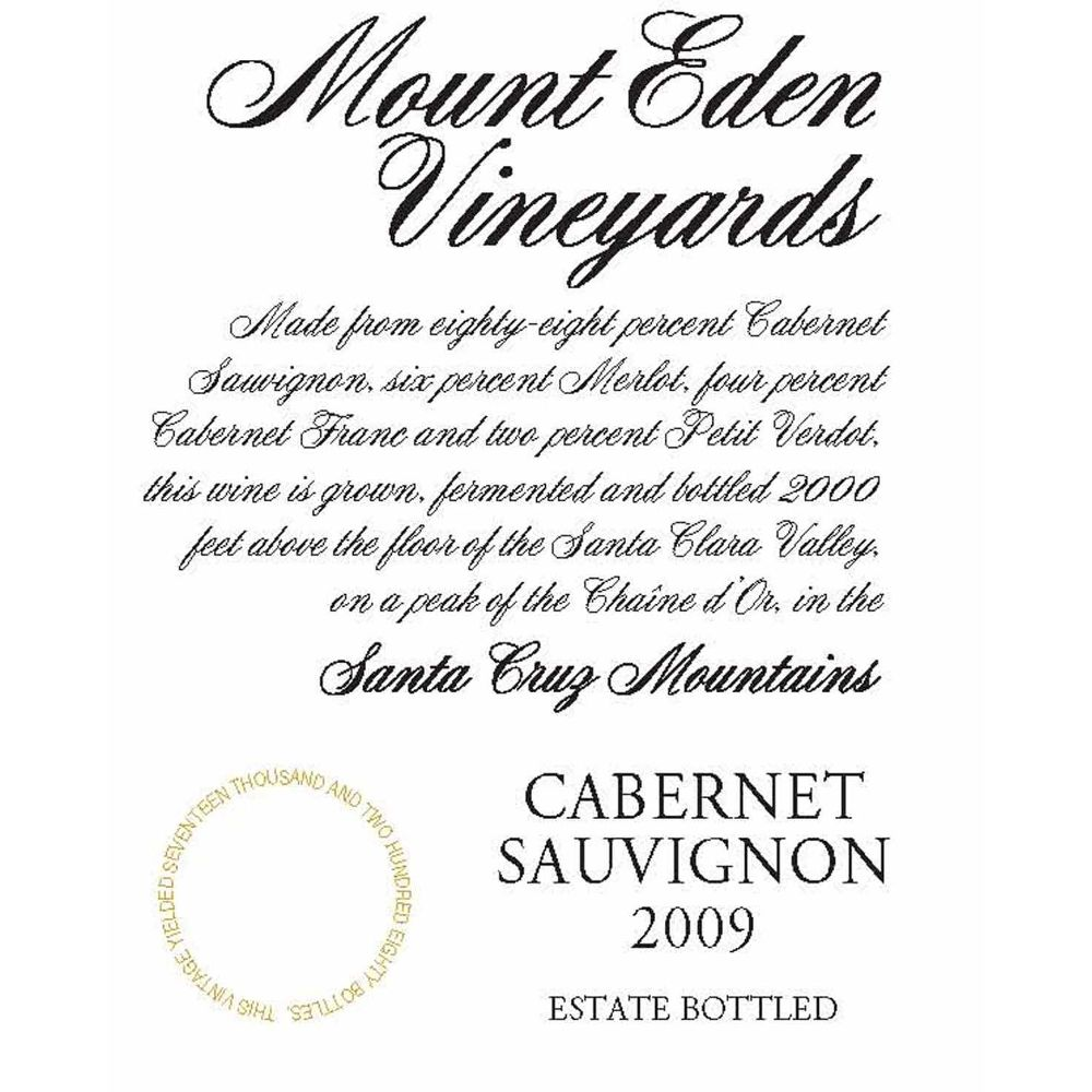 Mount Eden Vineyards Estate Cabernet Sauvignon 2009 Front Label