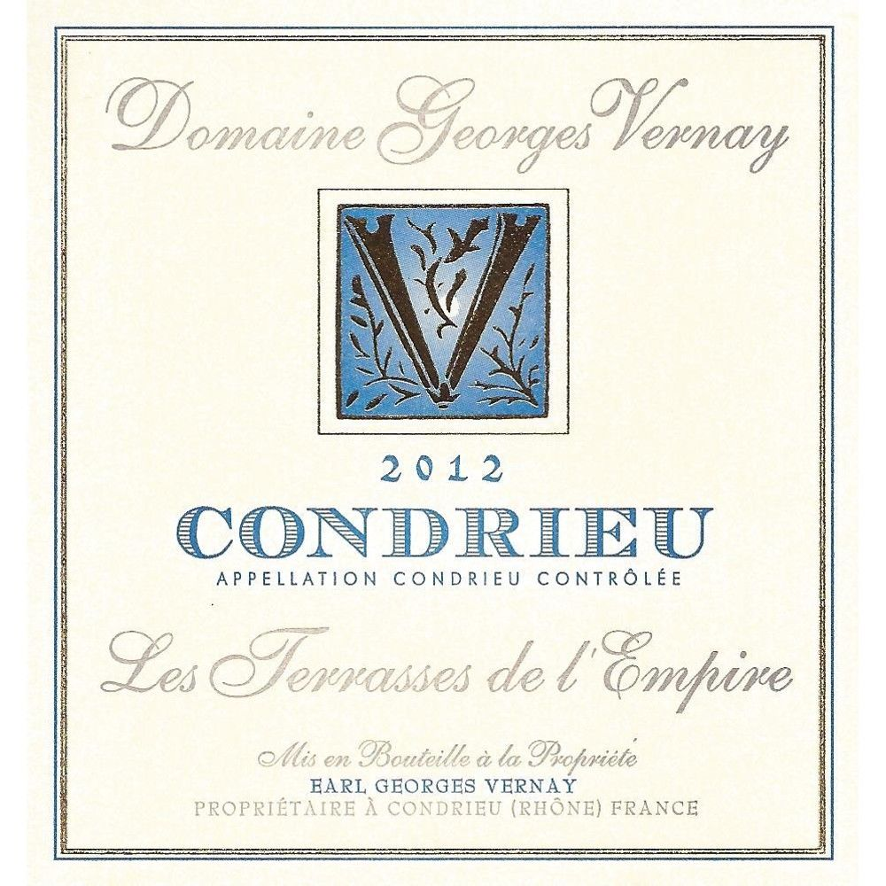 Georges Vernay Condrieu Terrasses de l'Empire 2012 Front Label