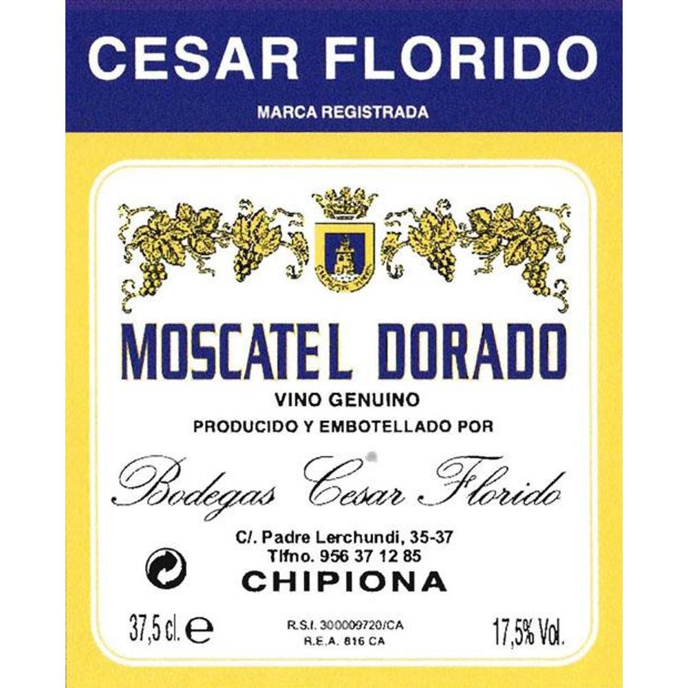 Cesar Florido Moscatel Dorado (375ML half-bottle) Front Label