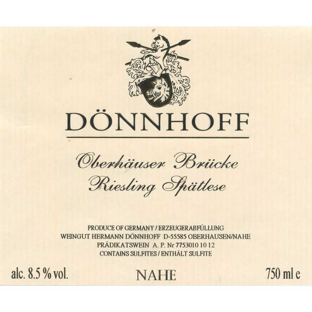 Donnhoff Oberhauser Bruke Riesling Spatlese 1992 Front Label