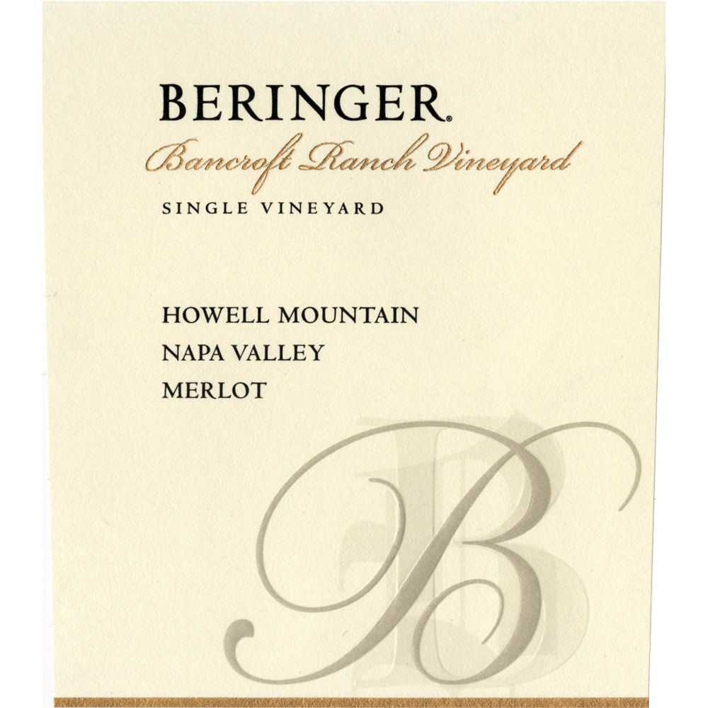 Beringer Howell Mountain Bancroft Ranch Merlot 1994 Front Label