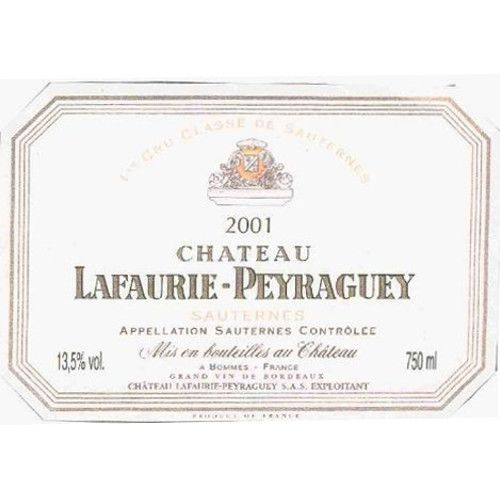 Chateau Lafaurie-Peyraguey Sauternes (375ML half-bottle) 2001 Front Label