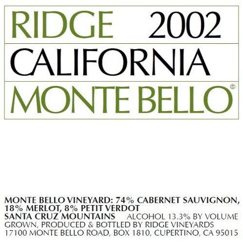 Ridge Monte Bello 2002 Front Label