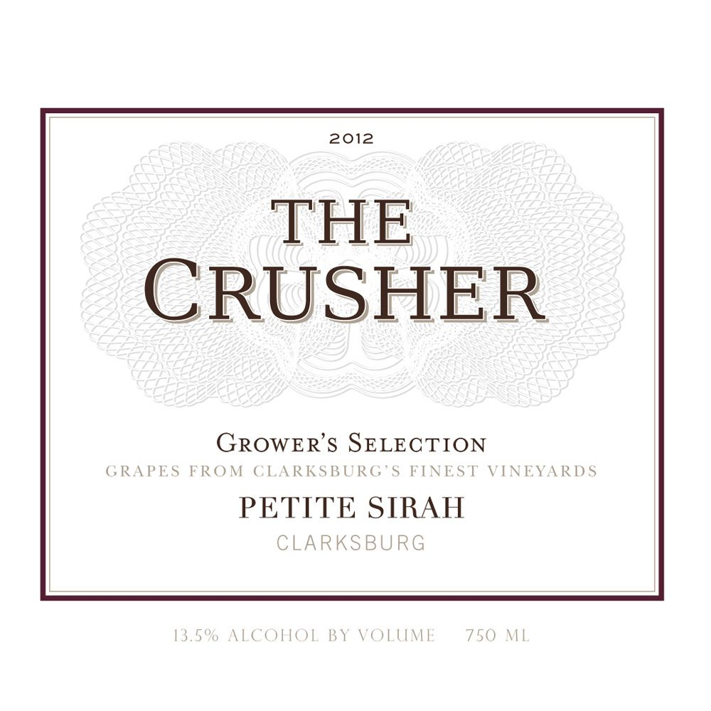 The Crusher Petite Sirah 2012 Front Label