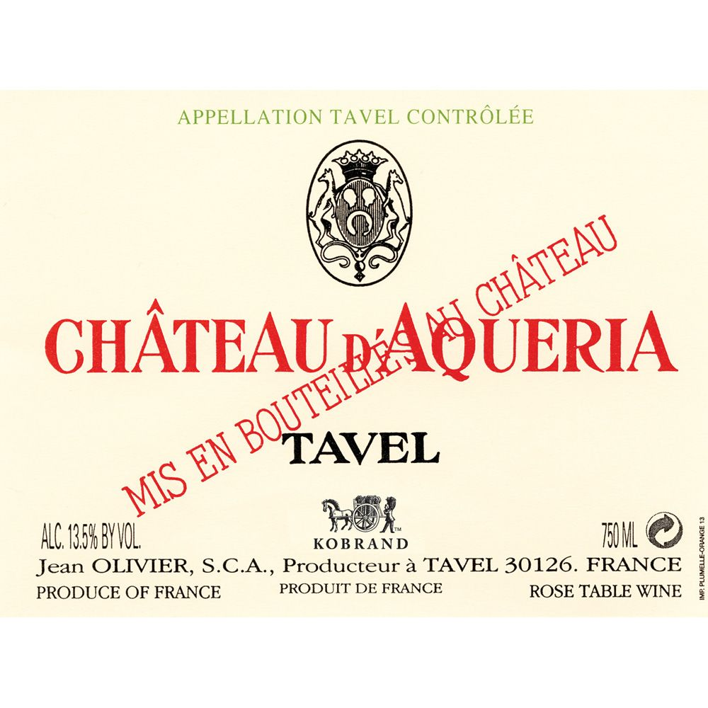 Chateau D'Aqueria Tavel Rose 2013 Front Label
