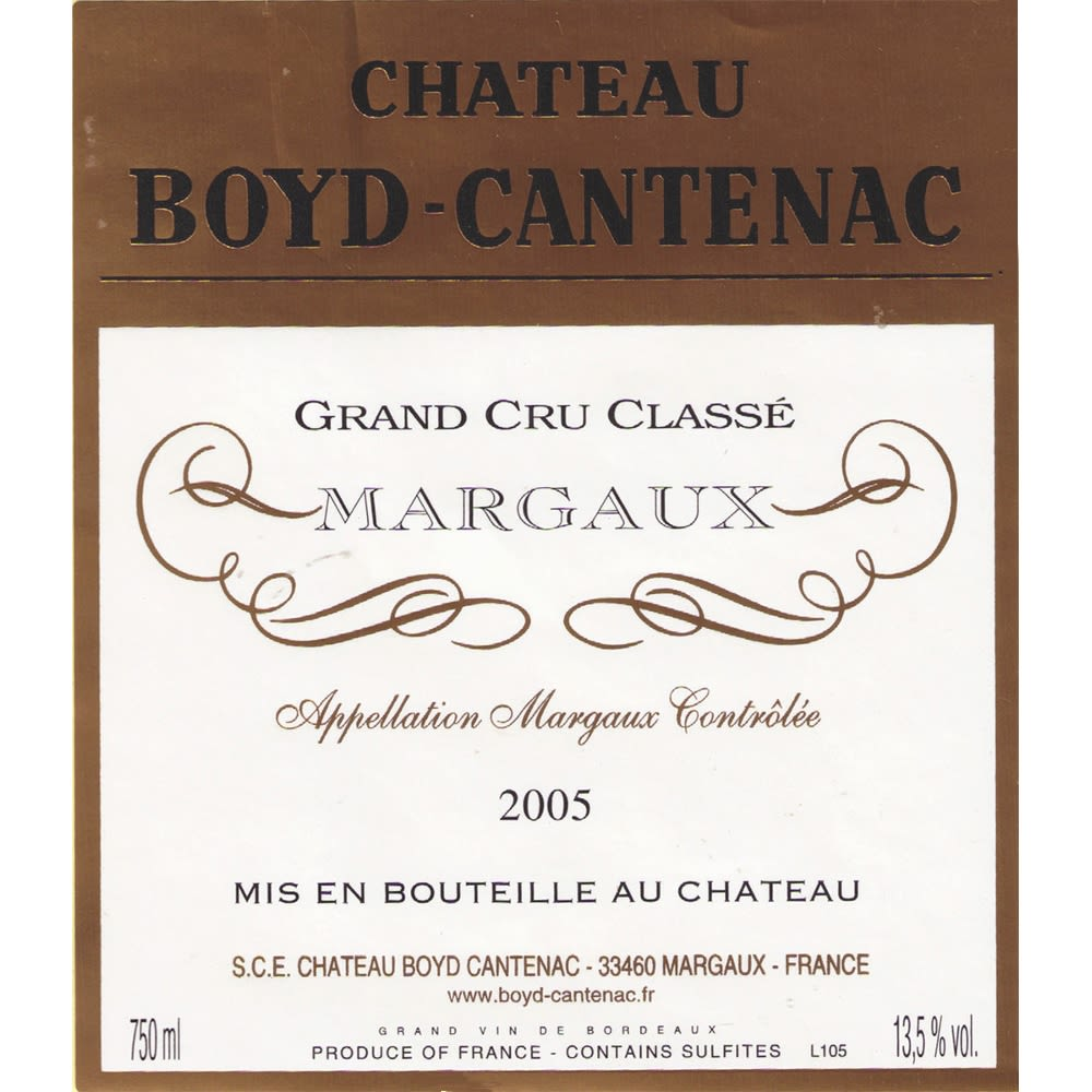 Chateau Boyd-Cantenac  2005 Front Label