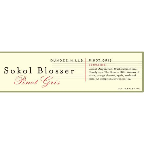 Sokol Blosser Estate Pinot Gris 2012 Front Label