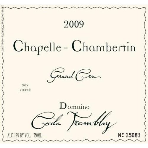 Domaine Cecile Tremblay Chapelle-Chambertin Grand Cru 2009 Front Label