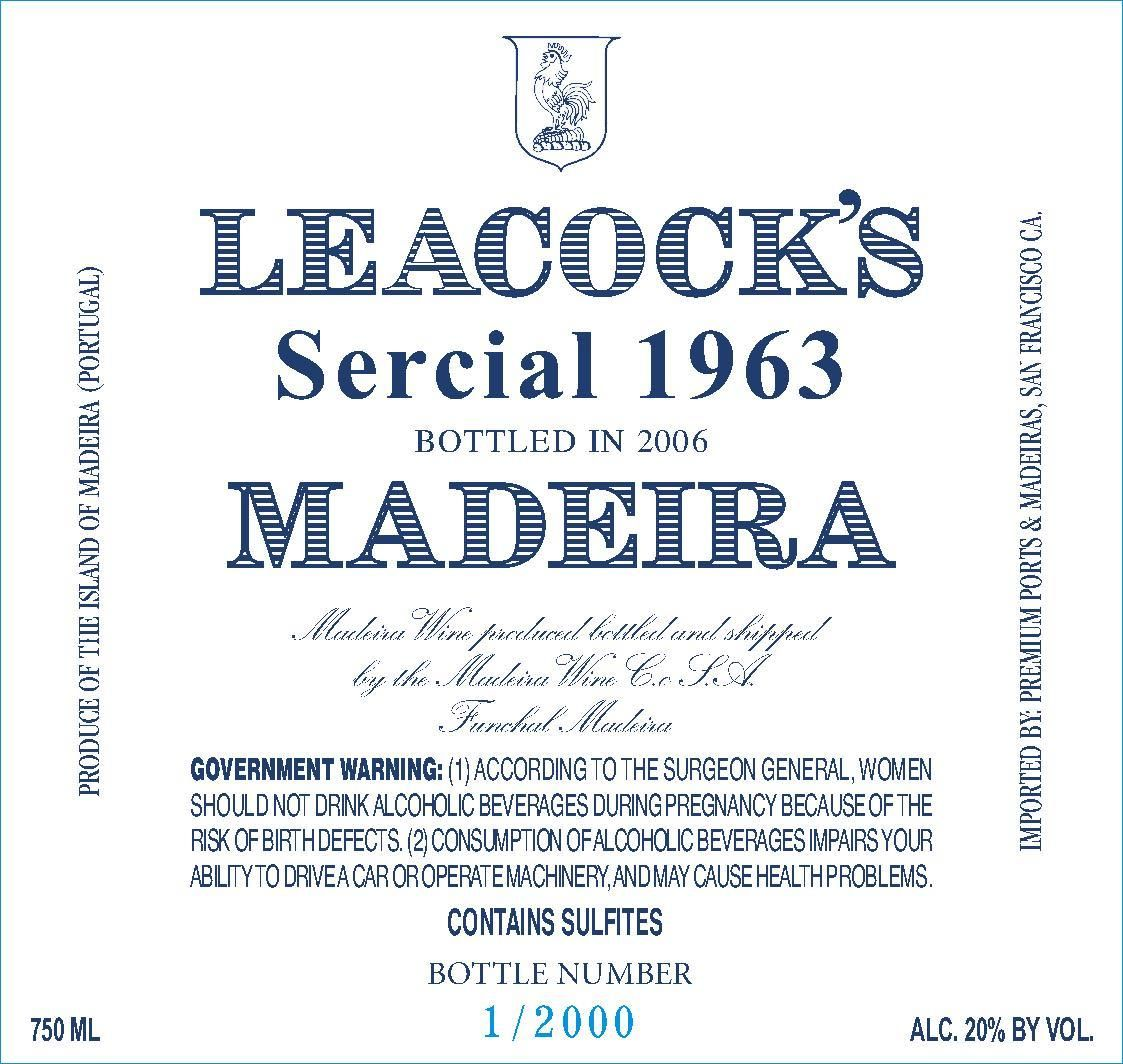 Leacock's Madeira Sercial Vintage 1963 Front Label