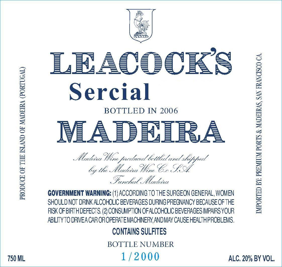 Leacock's Madeira Sercial Vintage 1969 Front Label