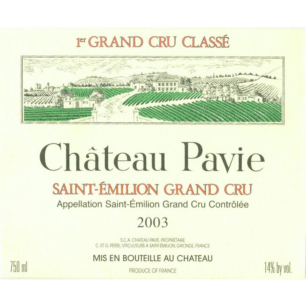 Chateau Pavie (3 Liter Bottle) 2003 Front Label